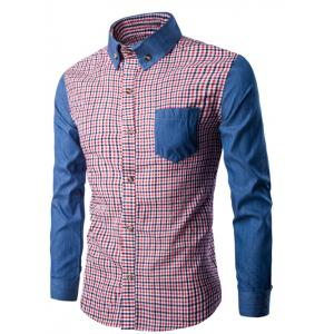 Button-Down Color Block Long Sleeve Plaid Shirt