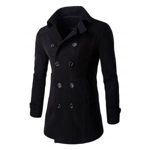 Slim Fit Double Breasted Wool Blend Coat - Black - M