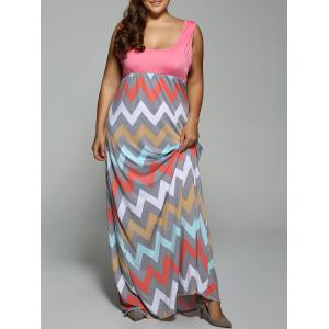 Plus Size Zigzag Maxi U Neck Dress