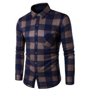 Plaid Button Up Long Sleeve Fleece Shirt