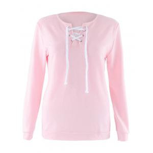 Lace Up Long Sleeve Sweatshirt