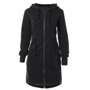 Drawstring Hooded Coat with Pockets