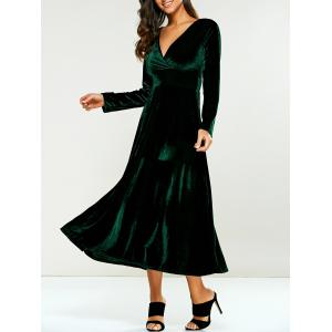Surplice Velvet Formal Long Evening Dress with Sleeves - Green - S