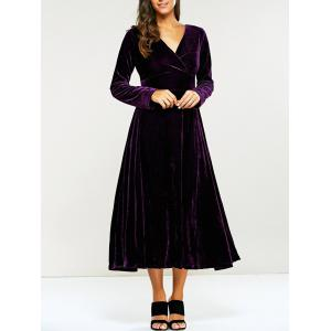 Surplice Velvet Formal Long Evening Dress with Sleeves - Purple - S