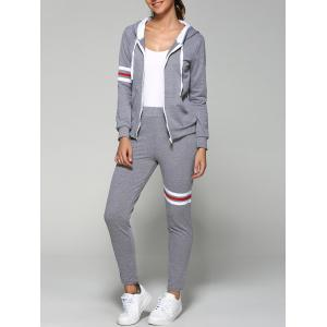 Striped Zip Up Hoodie and Joggers Pants - Gray - S