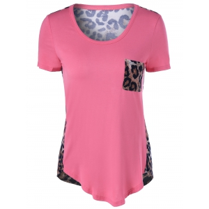 Single Pocket Leopard Asymmetrical T-Shirt - Pink - 5xl