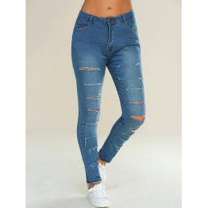 Pocket Design Ripped Pencil Jeans