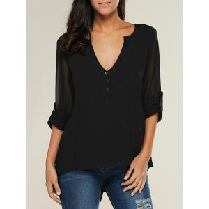 V Neck See-Through Blouse