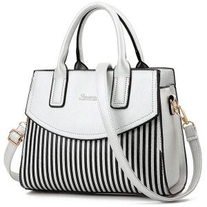 Letter Embossed Striped PU Leather Handbag - Silver - 40
