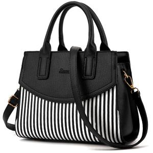 Letter Embossed Striped PU Leather Handbag - Black - W16 Inch * L47 Inch