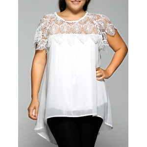 Lace Spliced Plus Size Chiffon High Low Blouse - White - 4xl