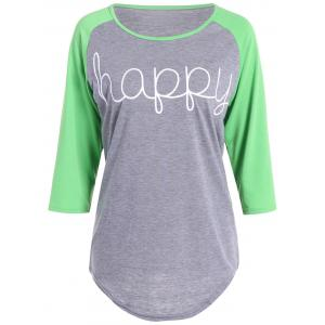 Happy Letters Print Raglan Sleeve T-Shirt