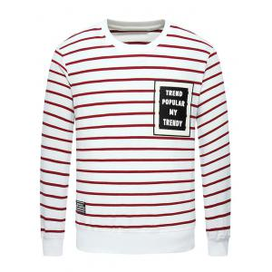 Crew Neck Letter Printed Striped Sweatshirt