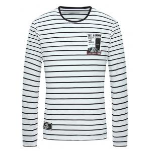Striped Round Neck Printed T-Shirt
