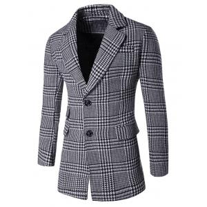 Notch Lapel Flap Pocket Back Vent Houndstooth Tartan Coat - Gray - M