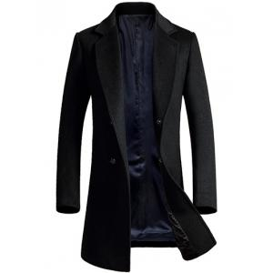 Lapel Longline Single Breasted Wool Coat - Black - L