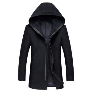 Hooded Zip Up Longline Wool Coat