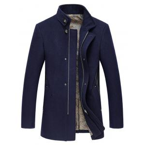 Stand Collar Embroidery Zip-Up Woolen Coat