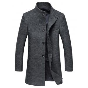 Stand Collar Single-Breasted Back Slit Woolen Coat - Gray - 3xl
