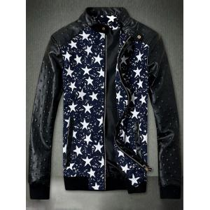 Star Print Embossed PU Leather Insert Zip Up Jacket