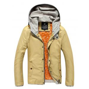 Color Block Splicing Hooded Zip-Up Jacket