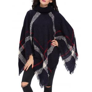 Turtleneck Fringed Knit Poncho - Deep Blue - One Size