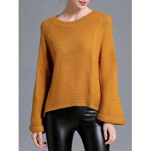 Flare Sleeve High Low Pullover Sweater