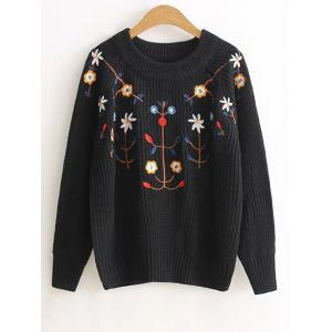 Floral Embroidered Vintage Sweater