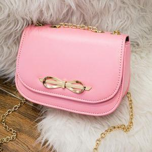 Metal Bowknot Chains Crossbody Bag - Pink - 38