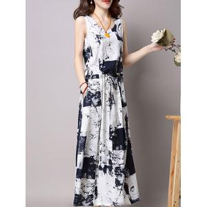 Maxi Elastic Waist Printed Dress and Cardigan -