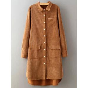 Corduroy High-Low Long Shirt