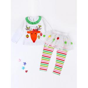 Girls Elk Print T-Shirt + Striped Pants Kids Christmas Outfits