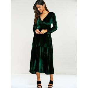 Surplice Velvet Tea Length Long Sleeve Dress -