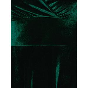 Surplice Velvet Long Evening Dress with Sleeves - GREEN 2XL