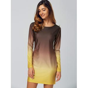 Ombre Slimming Long Sleeve T-Shirt Dress - COFFEE AND YELLOW XL