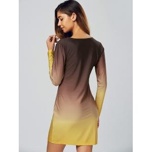 Ombre Slimming Long Sleeve T-Shirt Dress - COFFEE/YELLOW XL