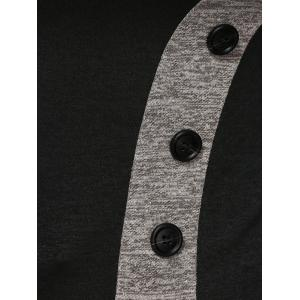 Buttoned Heathered Spliced Blouse - BLACK L