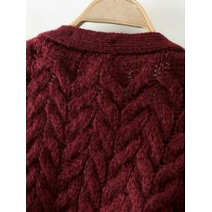 Cable Knit Thickening Cardigan - COFFEE ONE SIZE