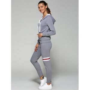 Striped Zip Up Hoodie and Joggers Pants - GRAY 2XL
