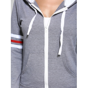 Zip rayé Up Hoodie et Joggings - Gris S