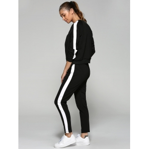 Zip Up Sweatshirt and Running Pants - BLACK L