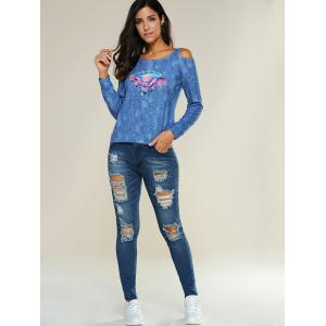 Skinny Ripped Pencil Jeans - BLUE XL