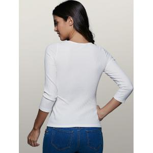 Plunging Neck Long Sleeve Front Lace-Up Stretchy T-Shirt - WHITE 2XL