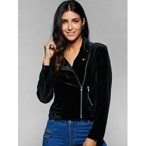 Zippers Lapel Collar Jacket - BLACK 2XL