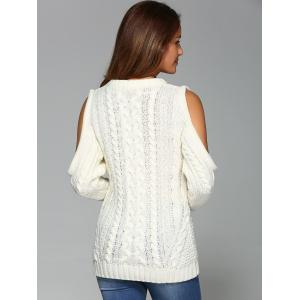 Cold Shoulder Cable Knit Sweater -