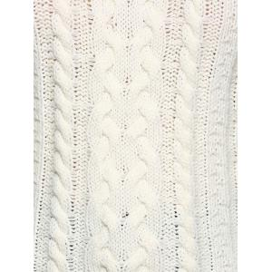 Cold Shoulder Cable Knit Sweater - OFF WHITE M