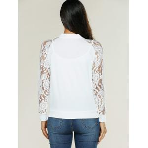 Lace Insert Bomber Zip Up Jacket - WHITE L