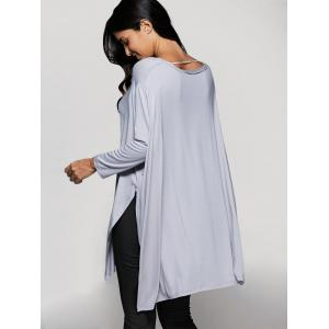 Scoop Neck Batwing Sleeve Side Slit T-Shirt -