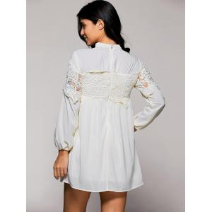 Lace Trim Long Sleeve Mock Neck Swing Dress -
