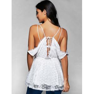 Spaghetti Straps Cold Shoulder Lace Top -